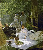 work of visual art: Claude Monet painting Déjeuner sur l'herbe from 1866 artists stiing on picnic blanket