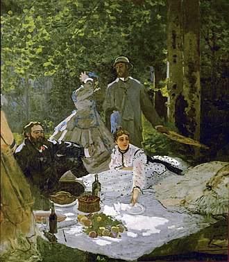 Claude Monet - Le déjeuner sur l'herbe (right section), 1865–1866, with Gustave Courbet, Frédéric Bazille and Camille Doncieux, first wife of the artist, Musée d'Orsay, Paris