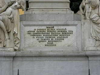 Monument to Nicola Demidoff, Florence - Inscription on Monument