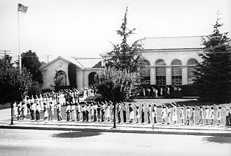 Morgan Hill, California - Students saluting the flag; Morgan Hill Elementary School, c. 1930.