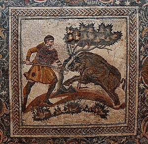 Boar hunting - Floor mosaic, 4th century CE, from a Roman villa near Mérida, Spain