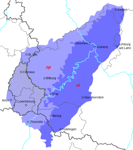 Luxembourg lies in the Moselle Franconian dialect area. The Moselle Franconian dialects of the Belgian Arelerland (Land of Arlon), west of Luxembourg, are endangered.