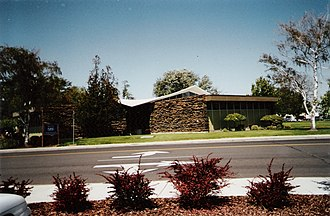 Moses Lake, Washington - Moses Lake Public Library, showing its distinctive hyperbolic-paraboloid roof