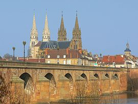 View of Moulins: Moulins Cathedral (left) and Église du Sacré-Cœur (middle)