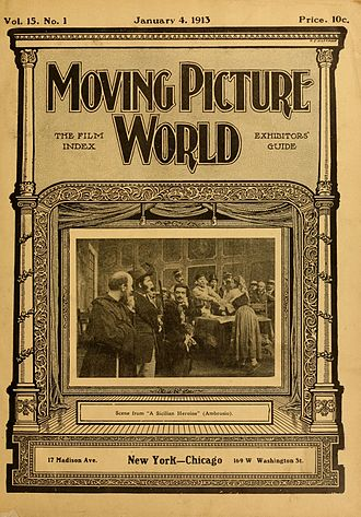 The Moving Picture World - January 4, 1913 cover, featuring a scene from A Sicilian Heroine, an Italian film