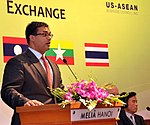 Mr. Nirav Pate, Deputy Assistant Secretary, Bureau of East Asian and Pacific Affairs, U.S. Department of State, speaks at the Lower Mekong Initiative Infrastructure Best Practices Exchange in Hanoi (8378371417).jpg
