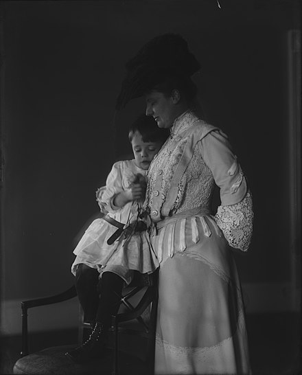 Photograph shows portrait of President Theodore Roosevelt's second wife, Edith Kermit Carow Roosevelt, standing next to their son, Quentin Mrs. Roosevelt, Quentin.jpg