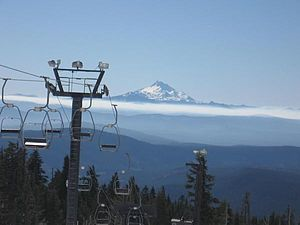 Mount Hood Meadows - View from Timberline of Mount Jefferson about 46 miles (74 km) away