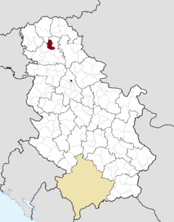 Location of the municipality of Srbobran within Serbia