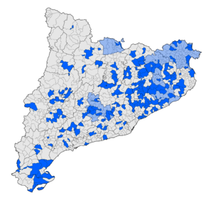 Free Catalan Territory - Map of Catalan municipalities (dark blue) and comarques (light blue) that have so far declared themselves Free Catalan Territory.