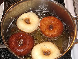 Munkkeja (Finnish for doughnuts) being deep fried.