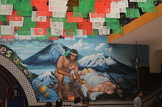 Popocatépetl and Iztaccíhuatl - Mural depicting the legend of Popocatepetl and Iztacihuatl inside the municipal palace of Atlixco, Puebla