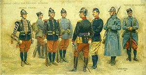 Édouard Detaille - Test uniforms created in 1912 by Édouard Detaille for the French line infantry. From left to right : trumpet in parade uniform, private in service uniform and kepi, private 1st class in parade uniform, private in service uniform and leather helmet, officer in parade uniform, officer in service uniform and bonnet de police (side cap), private in field uniform and leather helmet, private in field uniform and kepi.