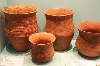 "Beaker (archaeology) - ""Typical"" bell-beakers at Museum für Vor- und Frühgeschichte, Berlin."