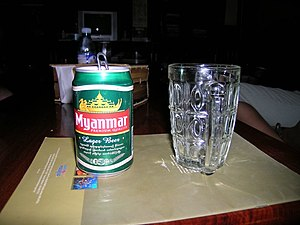 Burmese cuisine - A can of Myanmar Lager Beer bought in Cambodia