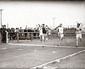 N.J. Cartmell winning the third heat of the 100 meter run at the 1904 Olympics.jpg
