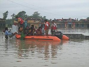 Floods in Bihar - Image: NDRF in Bihar Flood