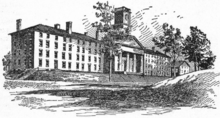 Pen and ink sketch of a row of 19th century brick buildings on a hill.  The center building has a clock tower and a Greek Revival front with pillars and a triangular pediment. The two buildings on either side are long, plain, four story buildings with many windows.