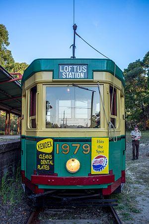 Sydney Tramway Museum - Image: NSWDRTT R1 class Tram 1979 Evening Run
