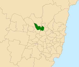 Electoral district of Baulkham Hills - Location within Sydney