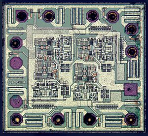 NAND gate - Die of a 74AHC00D quad 2-input NAND gate manufactured by NXP Semiconductors