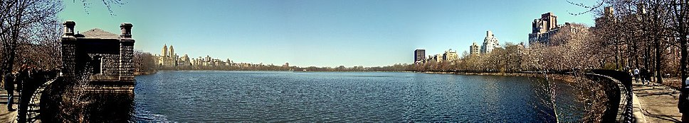 Panorama of Jacqueline Kennedy Onassis Reservoir at Central Park, looking north