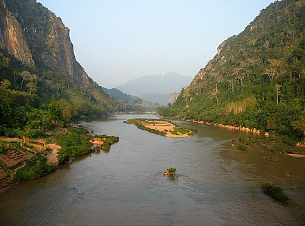 Rivers are an important means of transport in Laos. Nam ou 1.jpg
