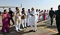 Narendra Modi being seen off by the Governor of Madhya Pradesh, Smt. Anandiben Patel and the Chief Minister of Madhya Pradesh, Shri Shivraj Singh Chouhan.JPG