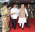Narendra Modi meeting the security personnel as he leaves Mission Control Centre after witnessing the successful launch of PSLV-C23, at Sriharikota, in Andhra Pradesh. The ISRO Chairman, Dr. K Radhakrishnan is also seen (1).jpg