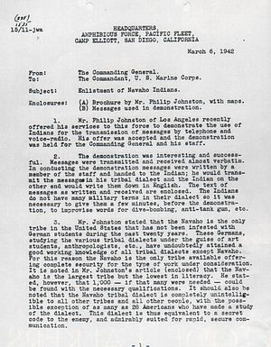 Code talker - Page one of Navajo recommendation letter, 1942