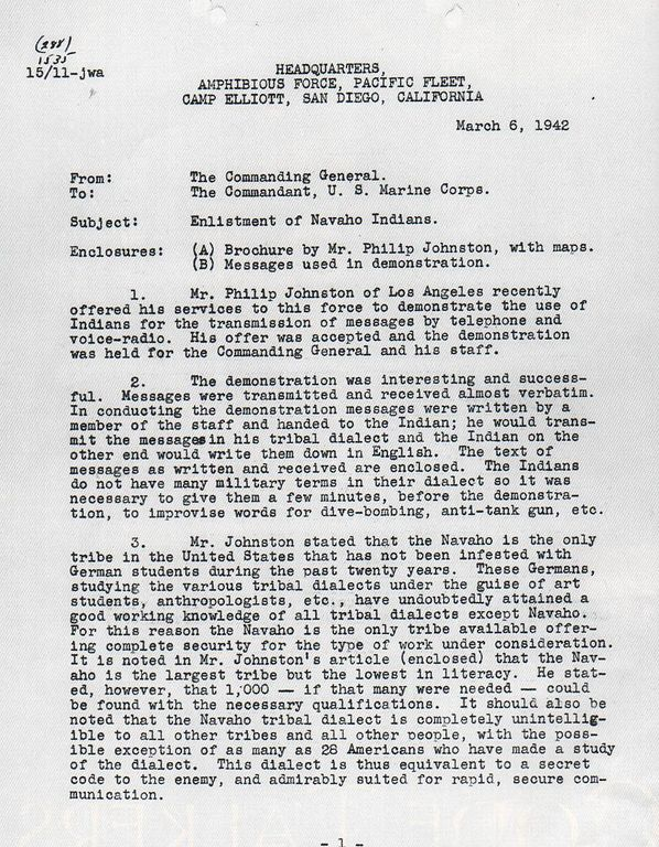 1942 letter about code talkers