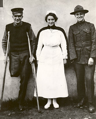 United States Navy Nurse Corps - Nurse Hazel Herringshaw and two Marine Corps patients, 1918