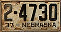 Nebraska license plate 1937 from the private collection of Jim Smith.jpg