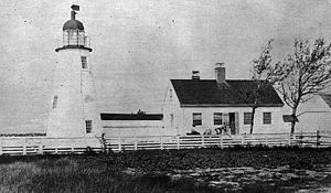 Ned Point Light - The original Ned Point Light in Massachusetts, showing its original bird-cage lantern and keeper's house.