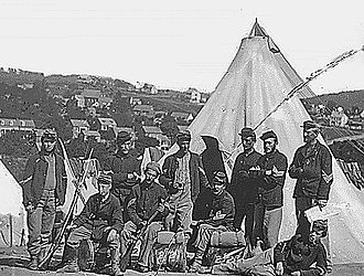 "Militia (United States) - New York state militia, Civil War Company ""E"", 22nd N.Y. State Militia, near Harpers Ferry."