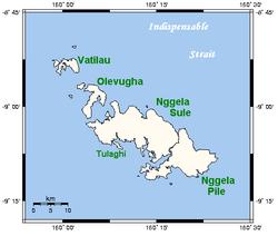 Umístění na ostrovech Nggela