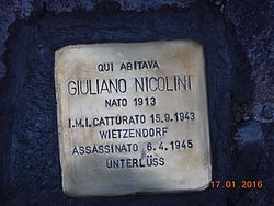 Photo of Giuliano Nicolini brass plaque