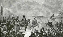 Император Николай I на Сенатской площади 14 декабря 1825 года.  Ране утром 14 декабря, пока заговорщики не начали...