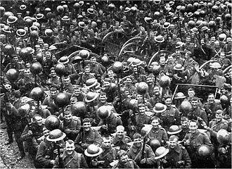 Brodie helmet - The Loyal North Lancashire Regiment showing off their new Brodie helmets (1916).
