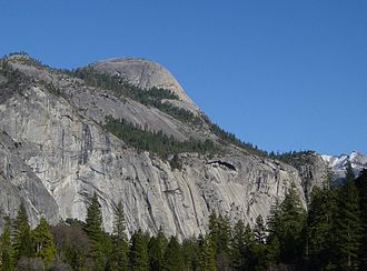 North Dome - Royal Arches and North Dome (top) as seen from Yosemite Valley.