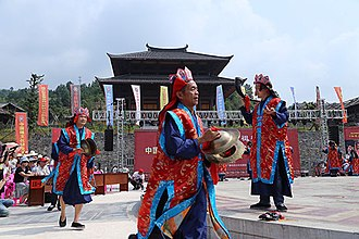 Nuo folk religion - Nuo priests performing ritual at the Chiyou Nuo Temple in Xinhua, Loudi, Hunan.