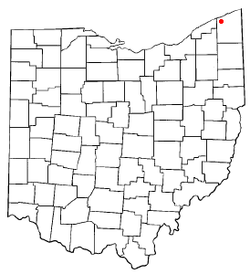 Location of Geneva within Ashtabula County, Ohio