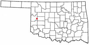 Hammon, Oklahoma - Image: OK Map doton Hammon