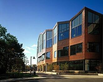 Copper in architecture - Copper facade at the Oak Park Public Library, U.S.