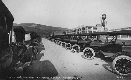 One day's output of 1917 automobiles at Chevrolet's major West Coast plant, now the location of Eastmont Town Center Oakland Chevrolet factory c.1917.jpg