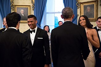 Ciara - Ciara and her now-husband, Russell Wilson, meet Barack Obama and Shinzō Abe at the White House in 2015.