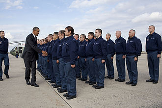 Andrews Air Force Base - President Barack Obama greets personnel at the base in October 2010.