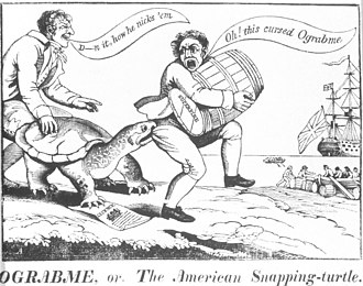 "Embargo Act of 1807 - An 1807 political cartoon showing merchants caught by a snapping turtle named ""Ograbme"" (""Embargo"" spelled backwards). The embargo was also ridiculed in the New England press as Dambargo, Mob-Rage, or Go-bar-'em."