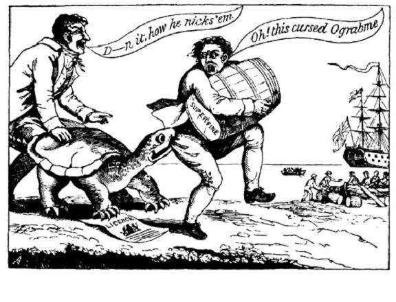 A turtle biting a man carrying a barrel to a waiting ship