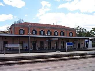 Olbia railway station - The passenger building viewed from the station yard.